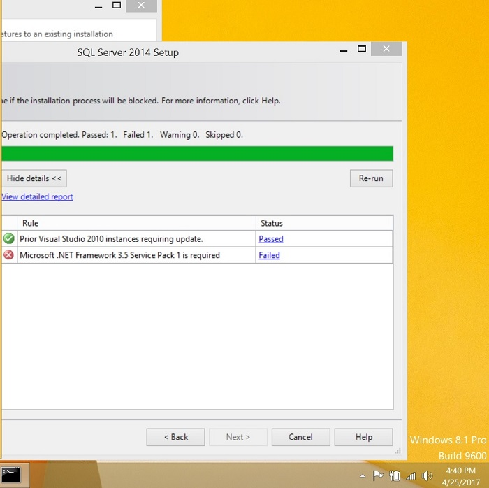 Error while installing Microsoft Framework 3.5 service pack 1 in windows 8.1
