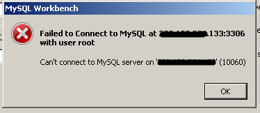 Failed to connect to MySQL at with user root cannot connect