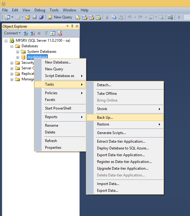 How to Backup a Database using SQL Management Studio