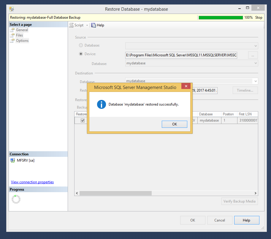 How to Restore Database using SQL Management Studio