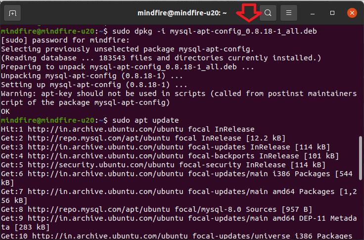 step by step screenshot to install MySQL in Ubuntu 20